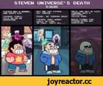 STEVEN UNIVERSE'S DEATH BV LOULOUVZ STEVEN NAS A NORMALBUT ONE DAV STEVEN AND HAPPV KID.GOT CANCER. STEVEN: GIRLS,PEARL: NO TURNING BACKf LETS GO ON AN ADVENTURE.STEVEN: DONT NORRV GIRLS IM FINE. IM COLD, THATS ALL... UNTIL ONE DAV HE DIED TURNING INTO A SKELETON, CALLED SANS. HHICH